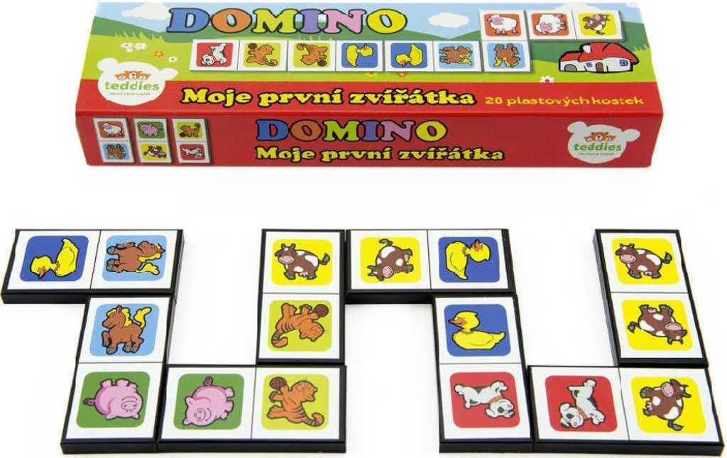 HRA Baby domino obrázkové moje první zvířátka set 28 kamenů plast