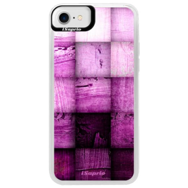 Neonové pouzdro Blue iSaprio - Purple Squares - iPhone 7