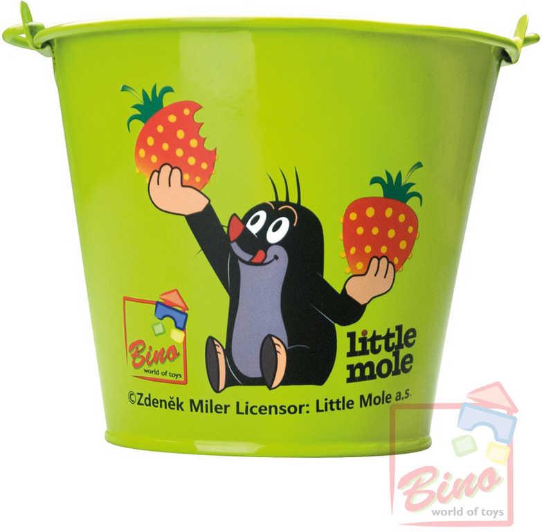BINO KRTEK Kyblík dětský kovový zelený s obrázkem Krteček a jahody na písek