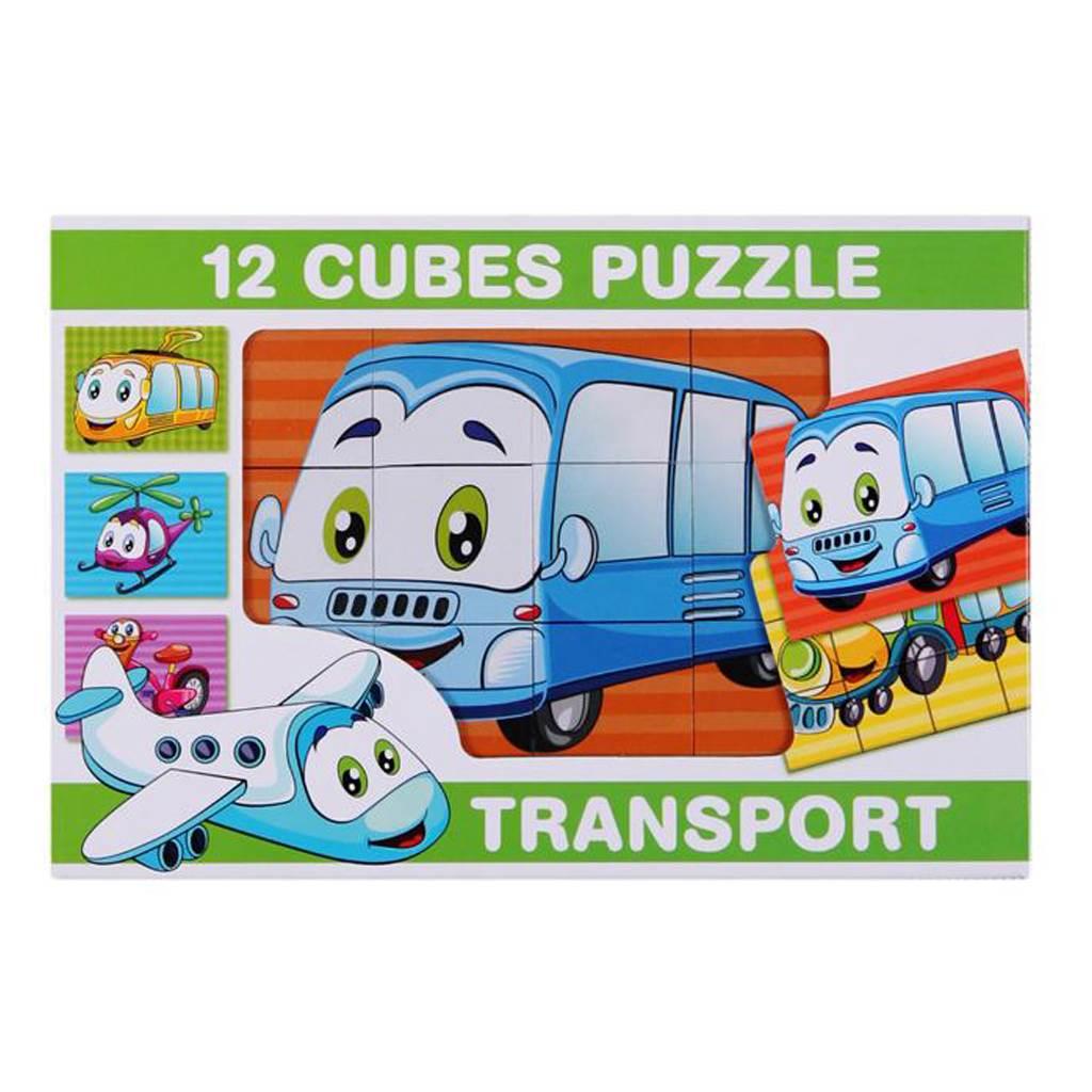 Skládací obrázkové kostky 12 ks - transport - dle obrázku
