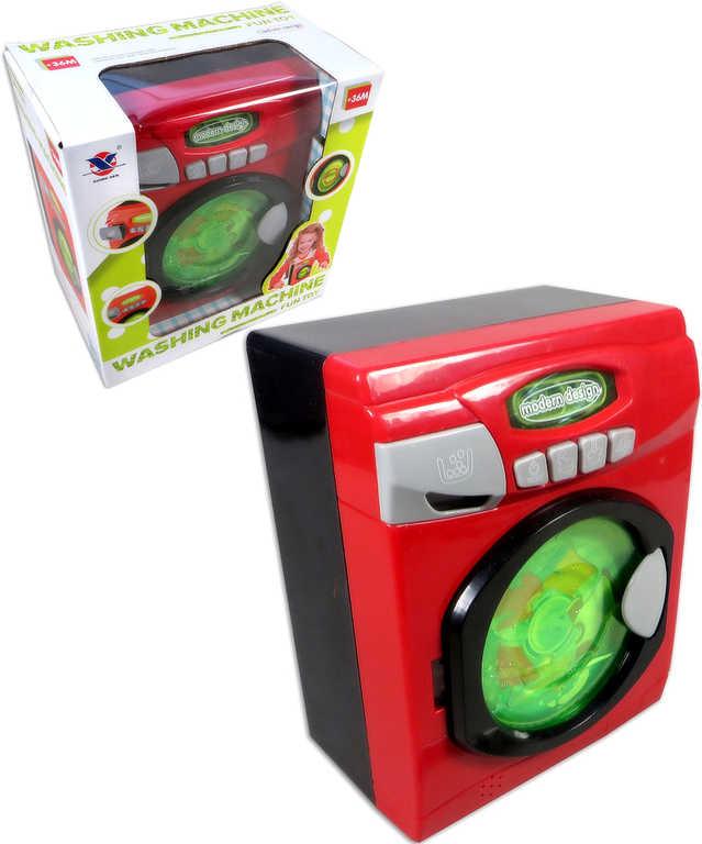 Pračka dětská funkční na baterie plastová na baterie buben se točí Světlo