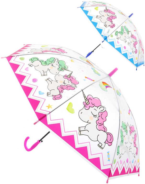 Deštník dětský holčičí Jednorožci vystřelovací různé barvy