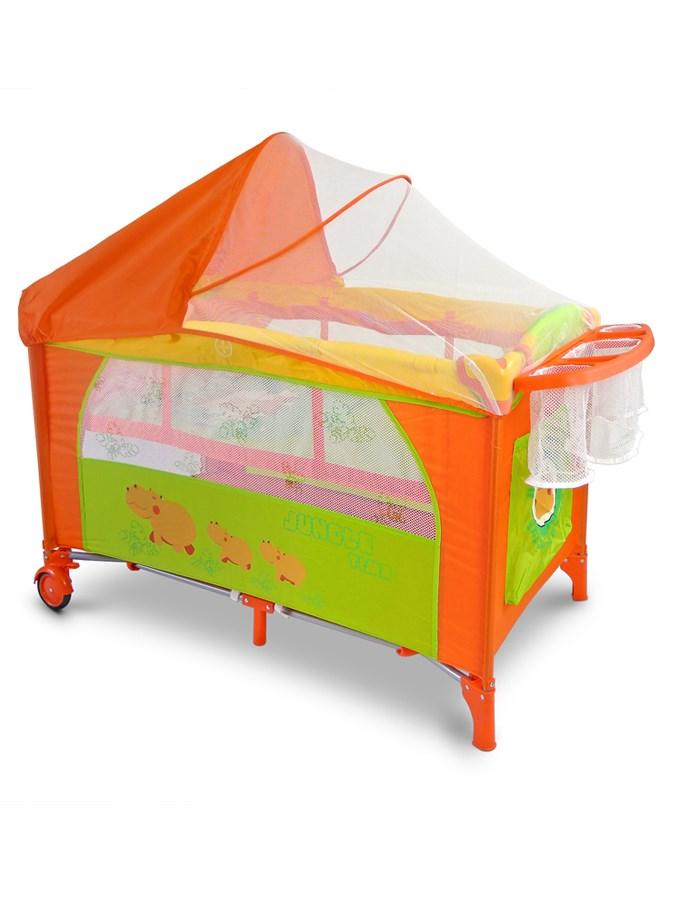 Cestovní postýlka Milly Mally Mirage Deluxe - hippo - oranžová