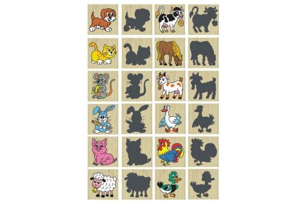 Pexeso zvířátka a jejich stíny dřevo společenská hra 12ks v krabičce 16,5x12,5x1,5cm