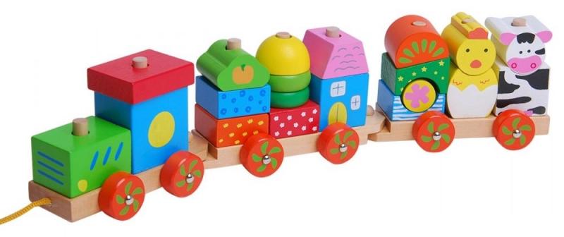 Eco toys Dřevěný vláček na šňůrku - Animal