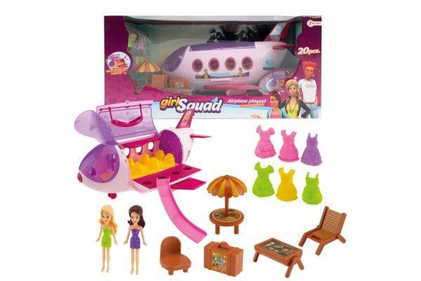 Letadlo plast s panenkami, oblečky a plážovým setem 20 ks