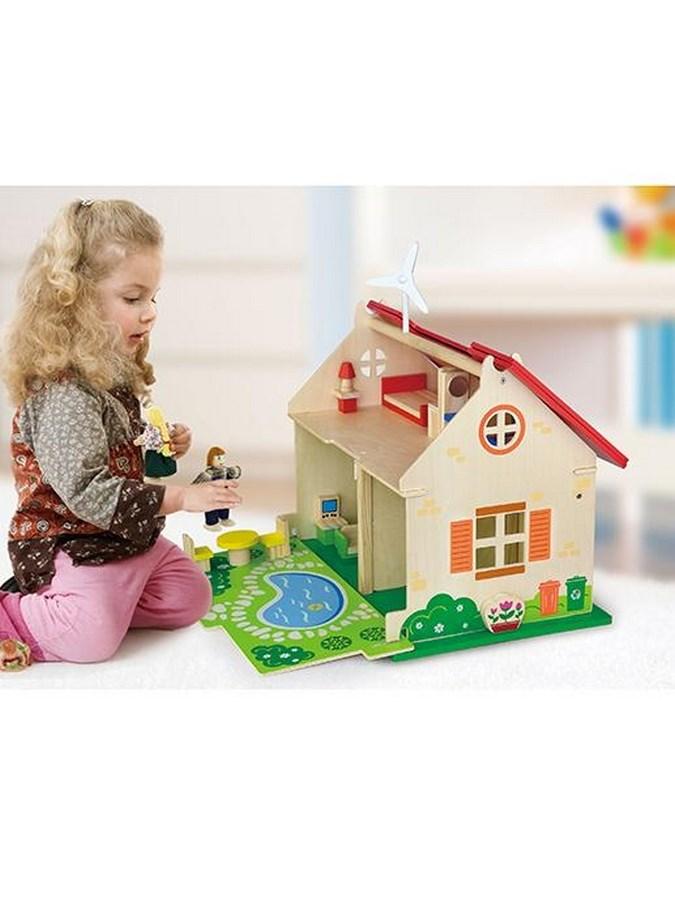 Dětský dřevěný EKO domeček pro panenky Viga - červená