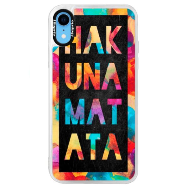 Neonové pouzdro Blue iSaprio - Hakuna Matata 01 - iPhone XR