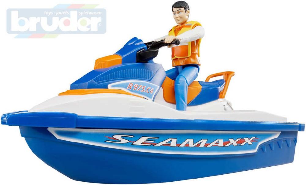 BRUDER 63150 Set vodní skútr člun motorový s figurkou 1:16 plast