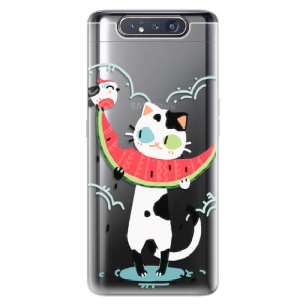 Odolné silikonové pouzdro iSaprio - Cat with melon - Samsung Galaxy A80