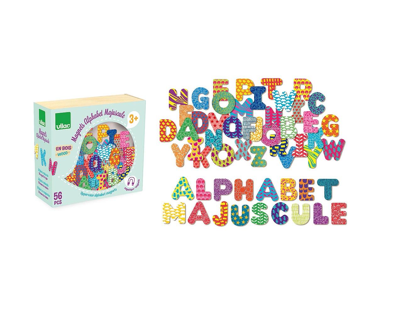 Vilac Dřevěné magnetky tiskací abeceda 56ks