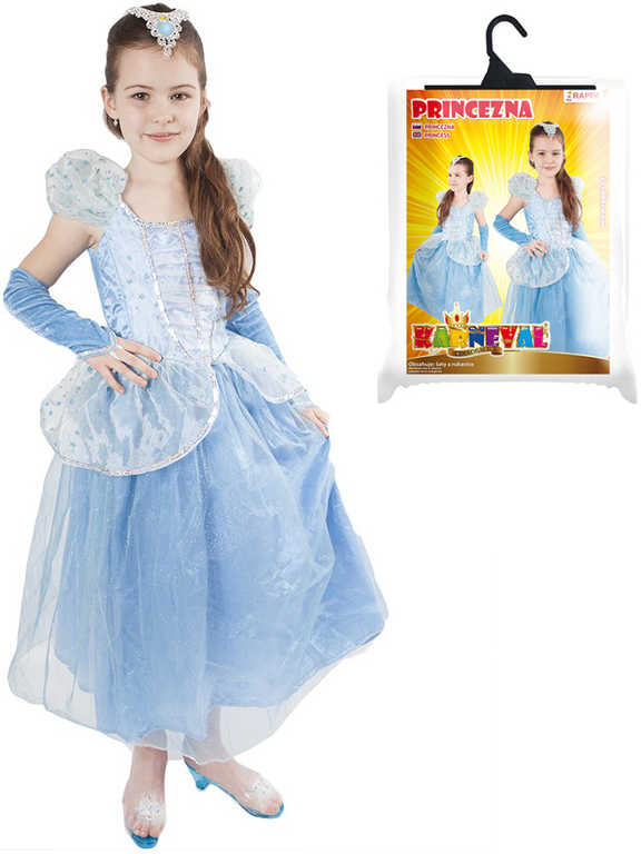 KARNEVAL Šaty Princezna modrá hvězda vel.M (120-130cm) 6-8 let KOSTÝM