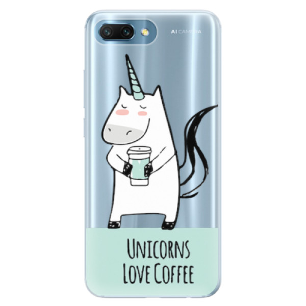 Silikonové pouzdro iSaprio - Unicorns Love Coffee - Huawei Honor 10