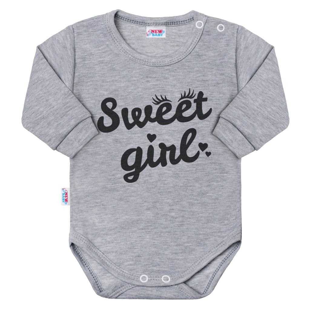 Kojenecké body s dlouhým rukávem New Baby Sweet girl šedé