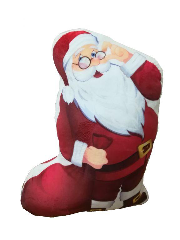 Polštářek 3D Santa Claus mikroplyšový vzhled
