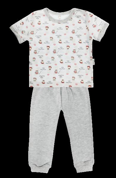 Bavlněné pyžamko Mamatti Pirát - krátký rukáv - šedé - 80 (9-12m)
