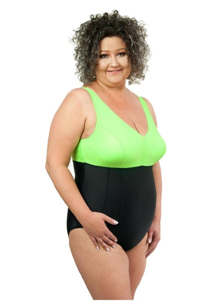 Dámské jednodílné plavky 1021 black-green