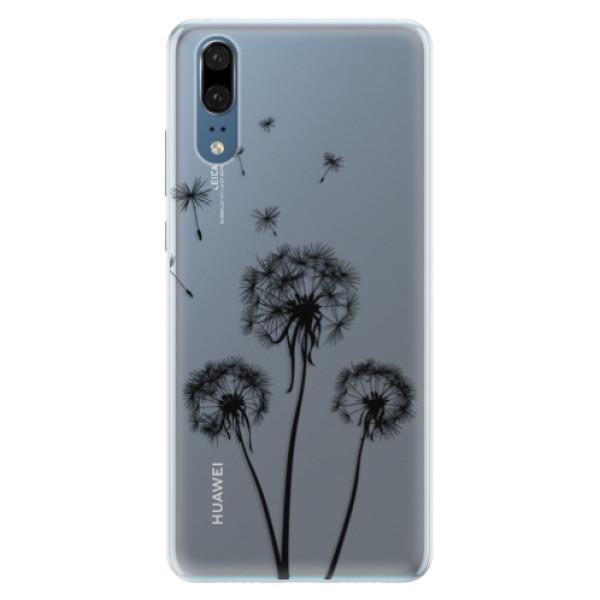 Silikonové pouzdro iSaprio - Three Dandelions - black - Huawei P20