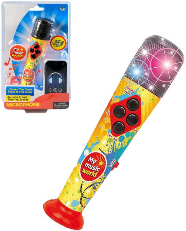 Mikrofon dětský s melodiemi 20cm na baterie LED Světlo Zvuk plast