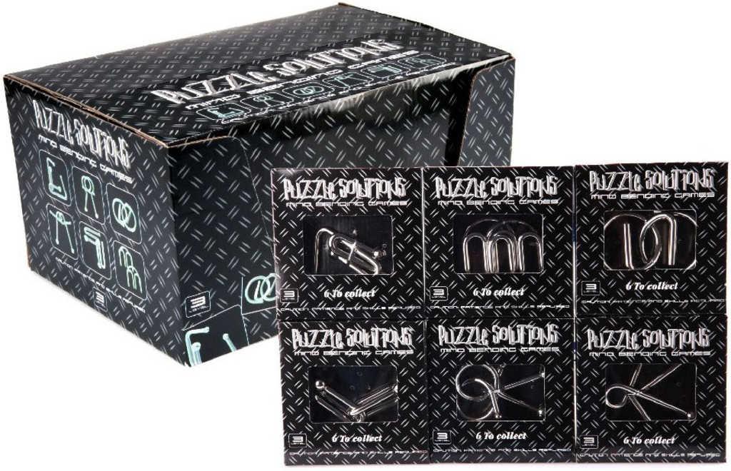 HRA Hlavolam drátěný černý kov různé druhy puzzle skládačka v krabičce