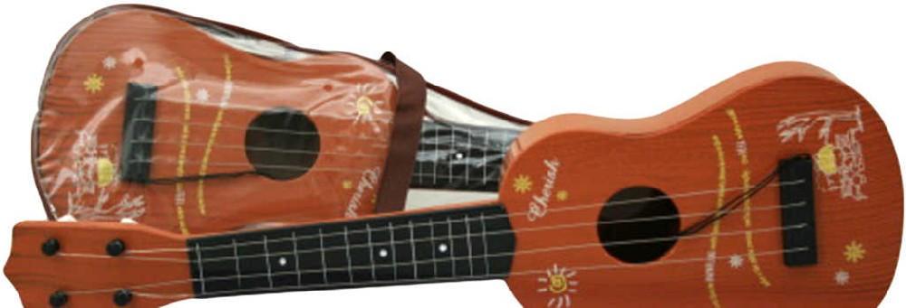 Kytara dětská malá imitace dřeva 55cm plast HUDEBNÍ NÁSTROJE
