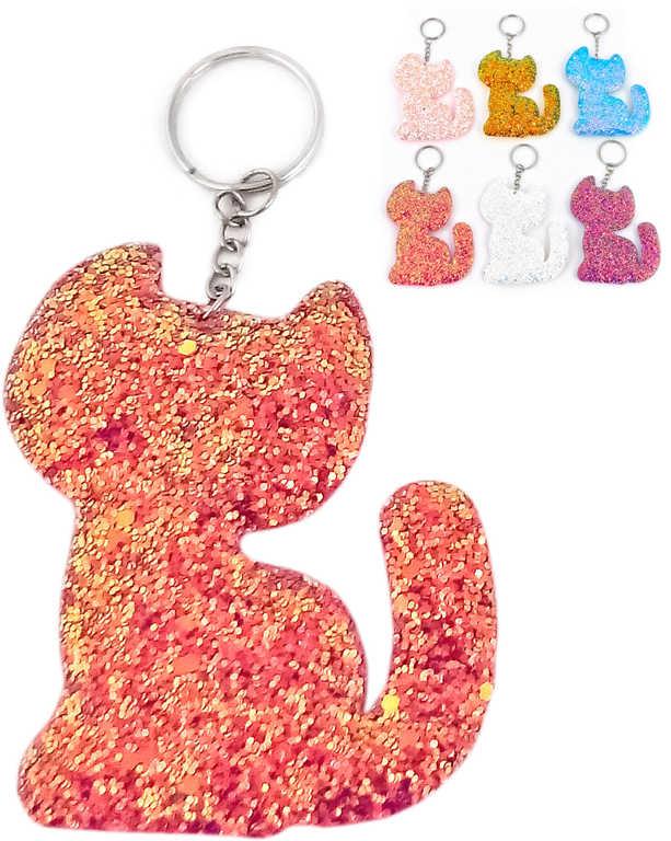Přívěšek třpytivý kočička klíčenka různé barvy plast