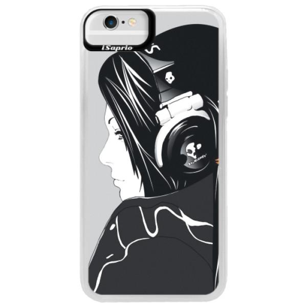Neonové pouzdro Blue iSaprio - Headphones - iPhone 6/6S