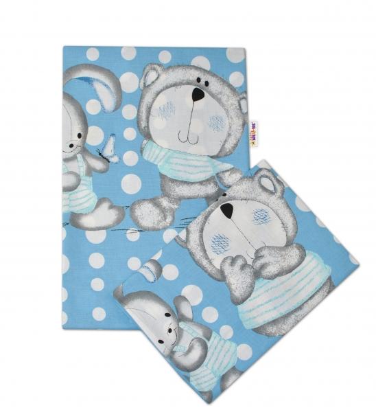 2-dílné bavlněné povlečení Medvídek s králíčkem Bubble - modré - 135x100cm - 135x100