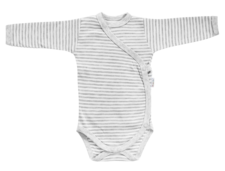 Mamatti Body Gentleman - dlouhý rukáv - zapínání bokem - šedé, vel. 62 - 62 (2-3m)