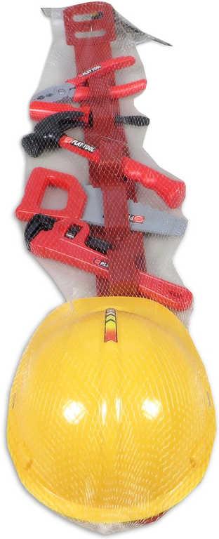 Dětské plastové nářadí pracovní set 7ks s opaskem a helmou v síťce