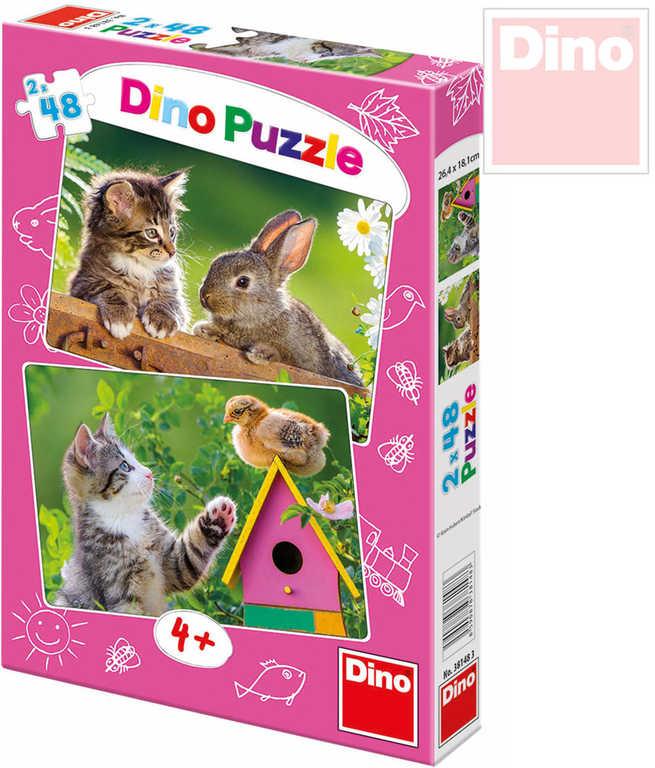 DINO Puzzle Koťátko a kamarádi 48 dílků 26x18cm v krabici