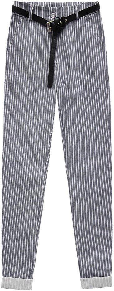 Bílo-tmavě modré kalhoty s opaskem 1 (2918) - Bílá/L (40)