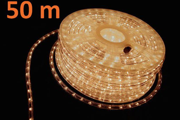 Světelný kabel 50 m - teple bílá, 1800 minižárovek