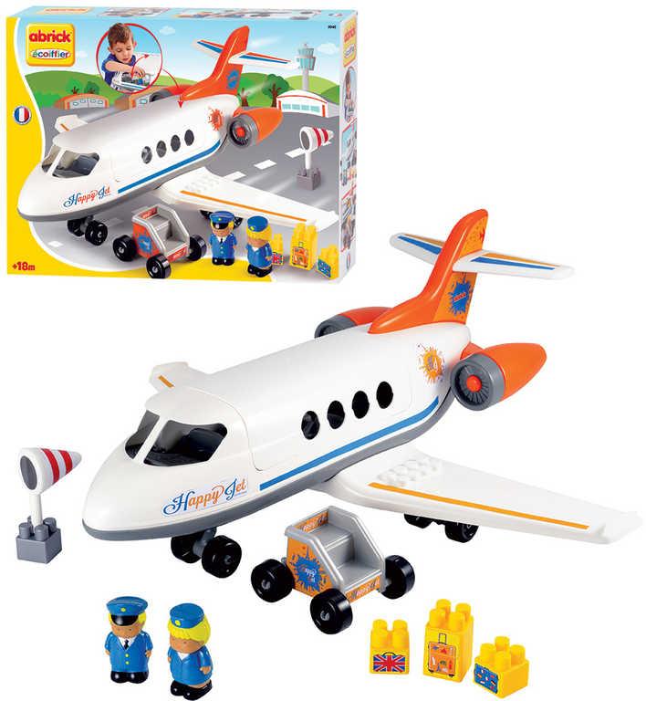 ECOIFFIER Baby Abrick Dopravní letadlo Happy Jet 32 dílků + 2 figurky STAVEBNICE
