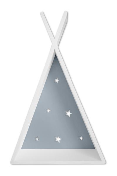 Polička na stěnu Star - týpí bílý s šedou