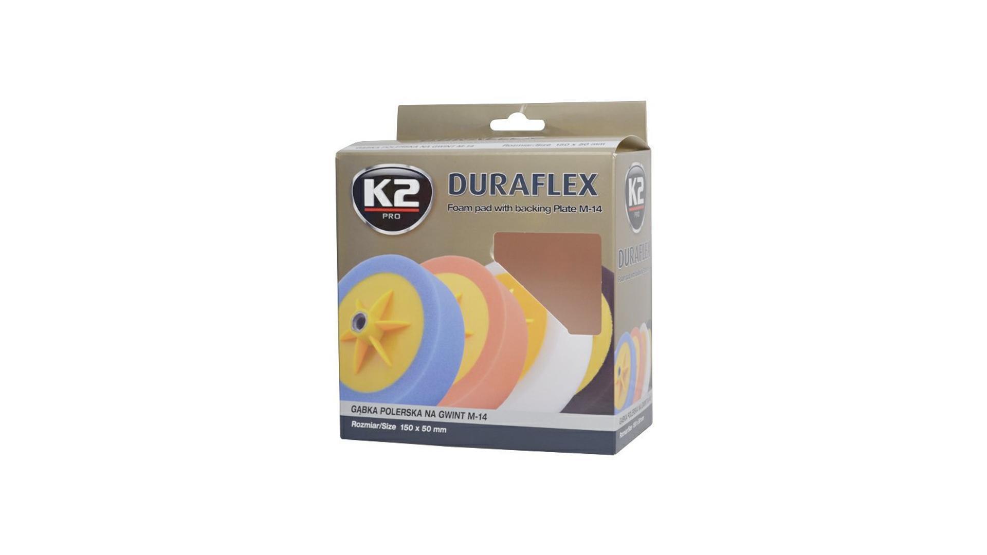 K2 Duraflex lešíci houba s uchytním talířem 150x50mm ORANŽOVÁ