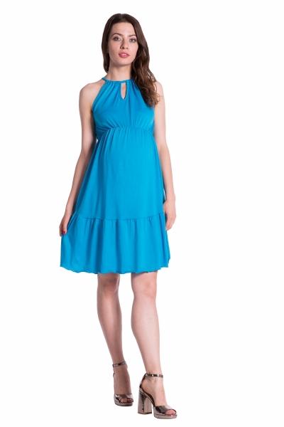 1541095414c Letní těhotenské šaty na ramínkách - modré - UNI