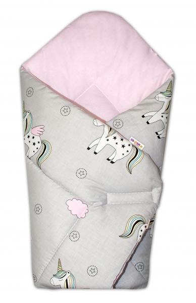 Novorozenecká zavinovačka Jednorožec, šedá/vnitřek růžový