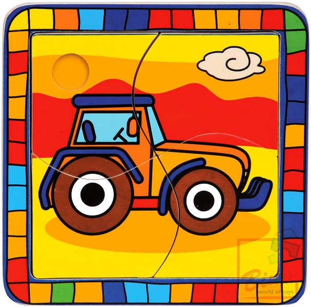 BINO DŘEVO Puzzle traktor 4 dílky * DŘEVĚNÉ HRAČKY *