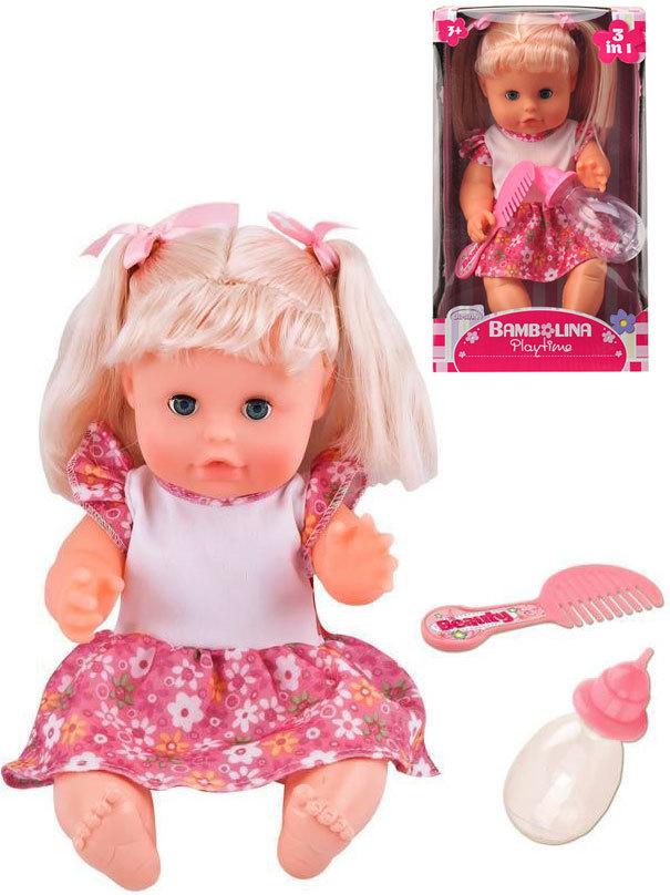 Panenka Bambolina 30 cm set s hřebínkem a kojeneckou lahvičkou v krabici
