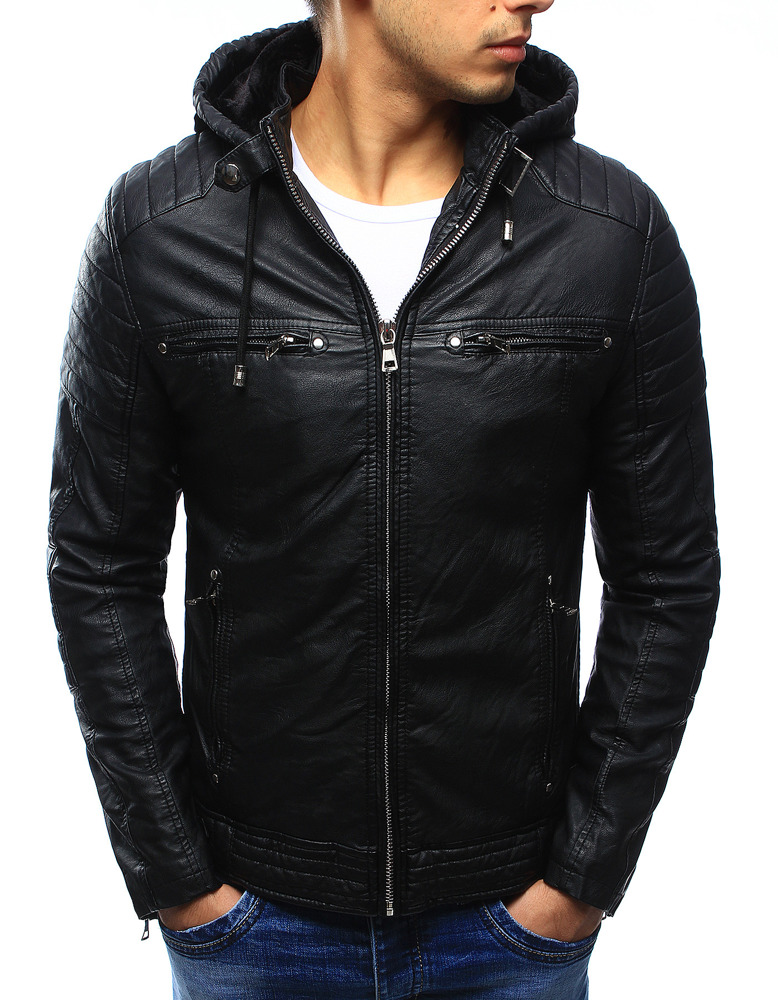 Pánská kožená bunda s kapucí JUN9119 (tx1660A) - Fei Fa fashion - Černá/M
