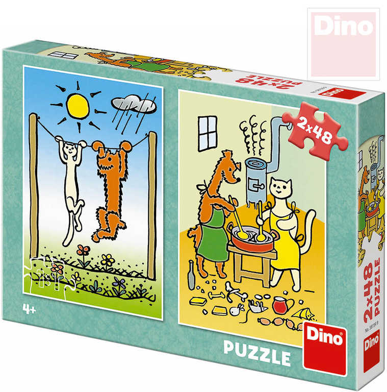 DINO Puzzle 2x48 dílků Pejsek a kočička 18x26,5cm skládačka 2v1