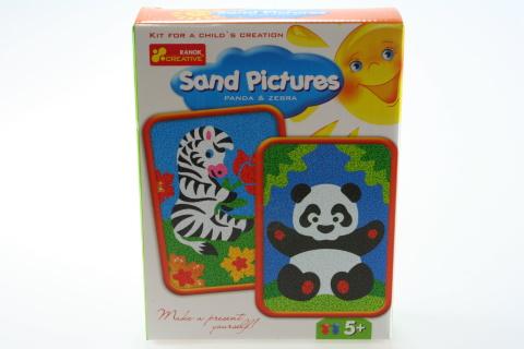 Obrázek z písku - zebra a panda