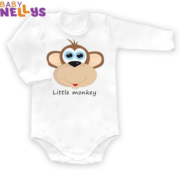 Baby Nellys Body dl. rukáv vel. 68, Little Monkey - bílé - 68 (4-6m)