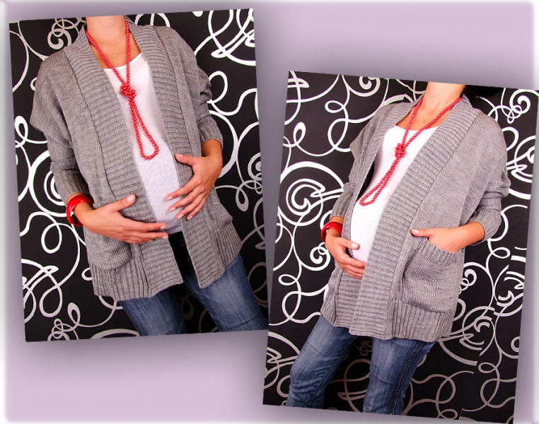 Kardigan, svetřík, plášť s kapsami, Monac - šedá