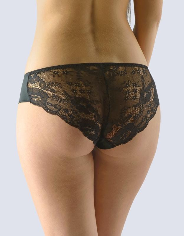 GINA dámské kalhotky francouzské, šité, bokové, s krajkou, La Femme 2 14113P - černá