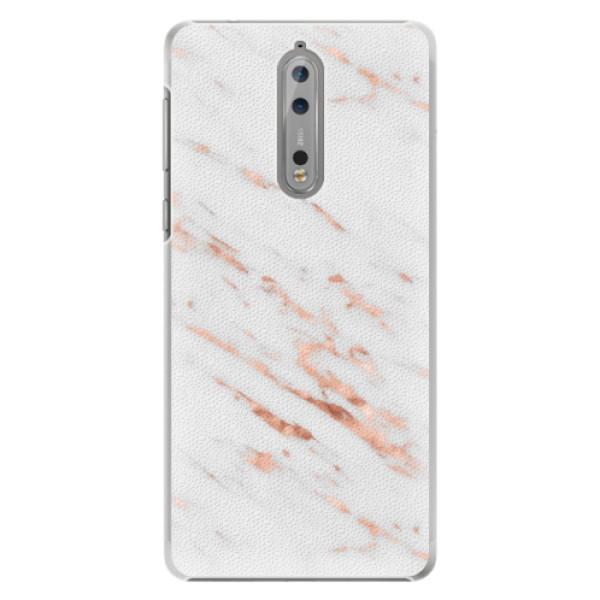Plastové pouzdro iSaprio - Rose Gold Marble - Nokia 8