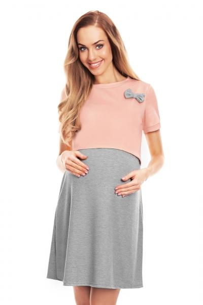 Be MaaMaa Těhotenská, kojící noční košile s mašličkou, kr. rukáv