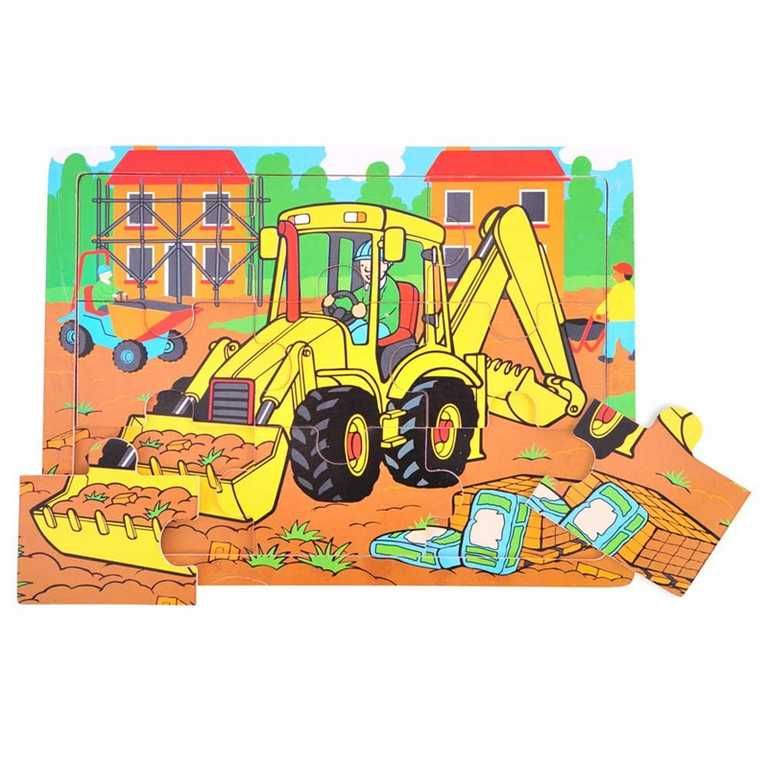 Bigjigs Toys Dřevěné puzzle bagr 9 dílků