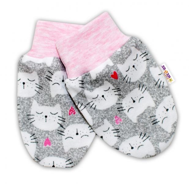 Kojenecké rukavičky Baby Nellys ® - Kočičky - sv. růžový lem - 56 (1-2m) /62 (2-3m)